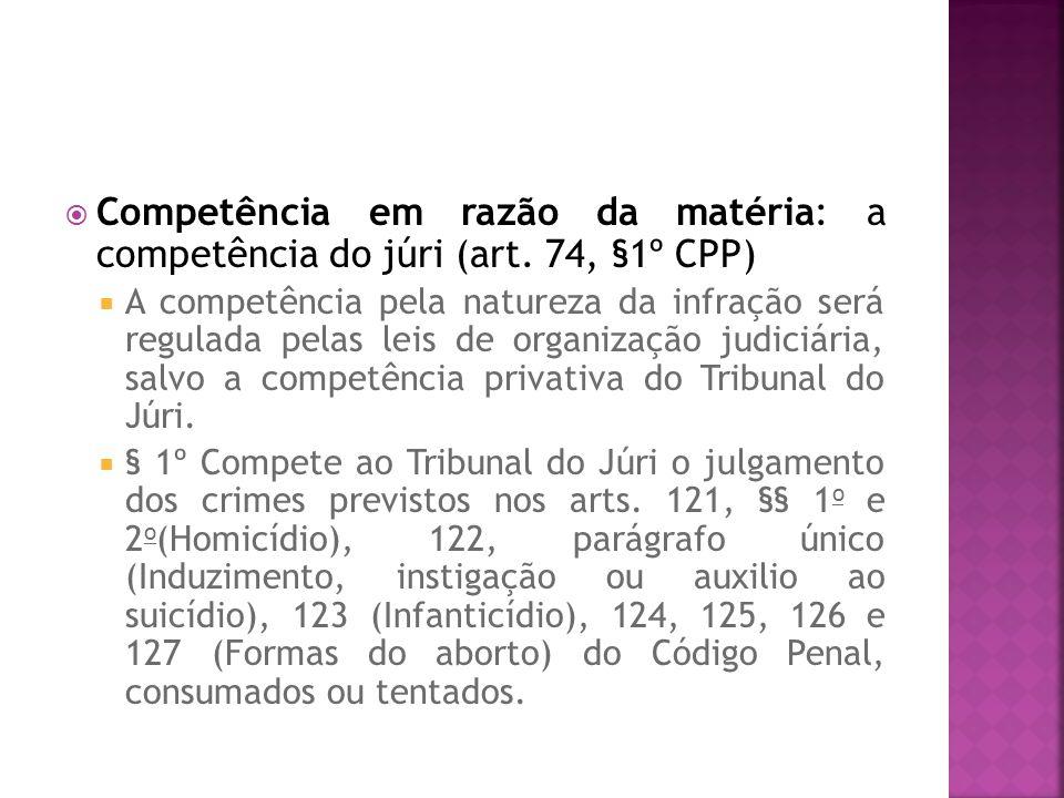 Competência em razão da matéria: a competência do júri (art. 74, §1º CPP) A competência pela natureza da infração será regulada pelas leis de organiza