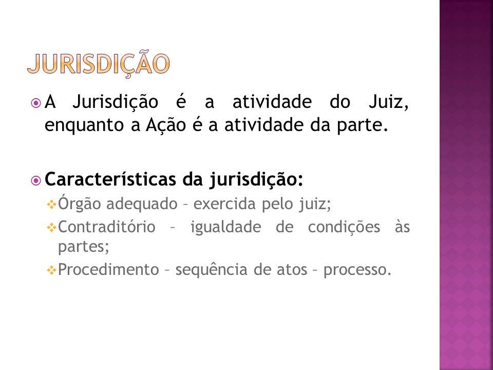 A Jurisdição é a atividade do Juiz, enquanto a Ação é a atividade da parte. Características da jurisdição: Órgão adequado – exercida pelo juiz; Contra