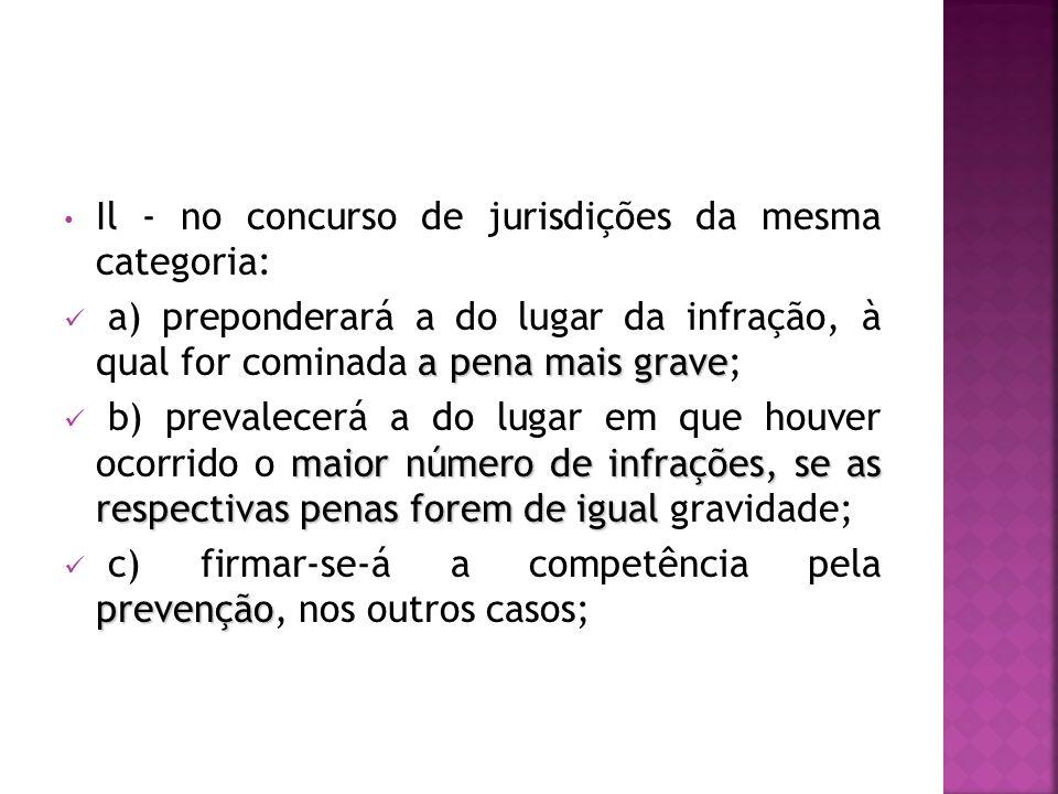Il - no concurso de jurisdições da mesma categoria: a pena mais grave a) preponderará a do lugar da infração, à qual for cominada a pena mais grave; m