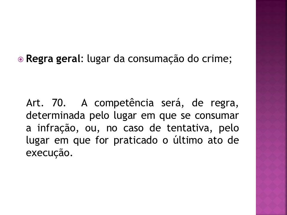Regra geral: lugar da consumação do crime; Art. 70. A competência será, de regra, determinada pelo lugar em que se consumar a infração, ou, no caso de