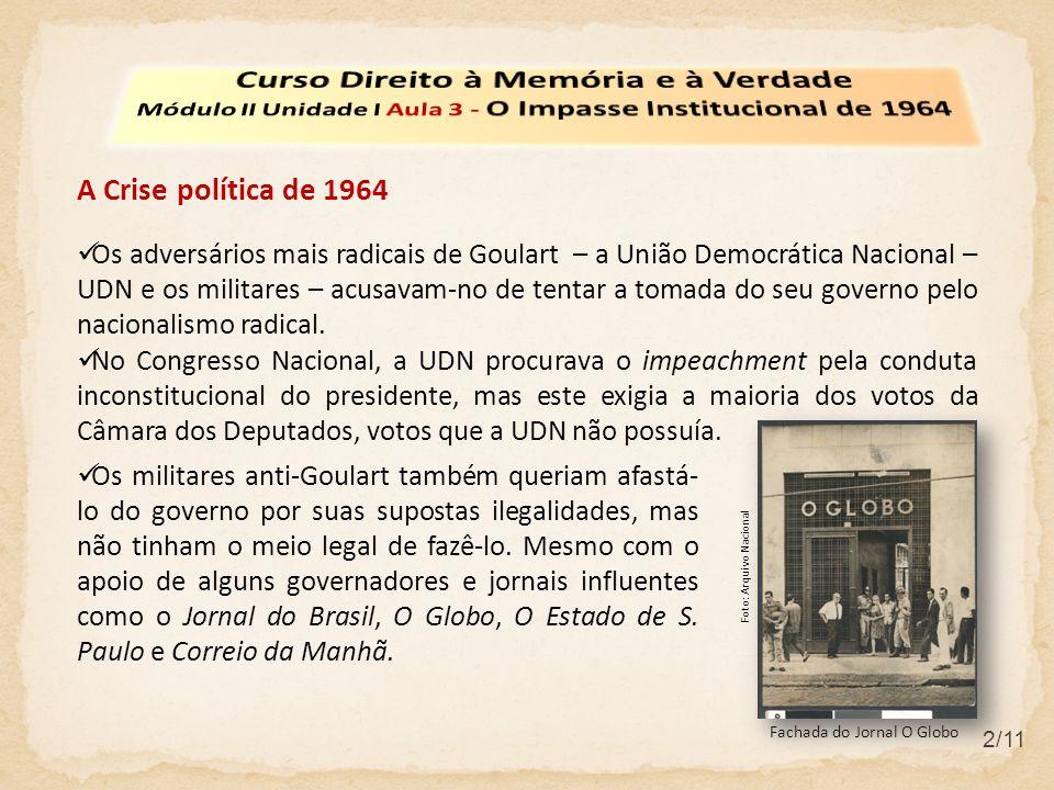 2/11 A Crise política de 1964 Os adversários mais radicais de Goulart – a União Democrática Nacional – UDN e os militares – acusavam-no de tentar a tomada do seu governo pelo nacionalismo radical.