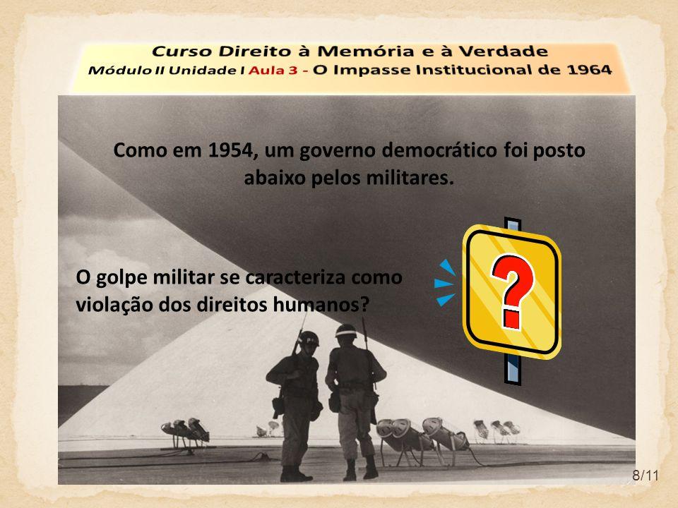 8/11 O golpe militar se caracteriza como violação dos direitos humanos.