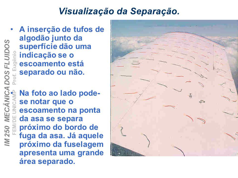 IM 250 MECÂNICA DOS FLUIDOS FEM/DE UNICAMP Prof.Eugênio Visualização da Separação.