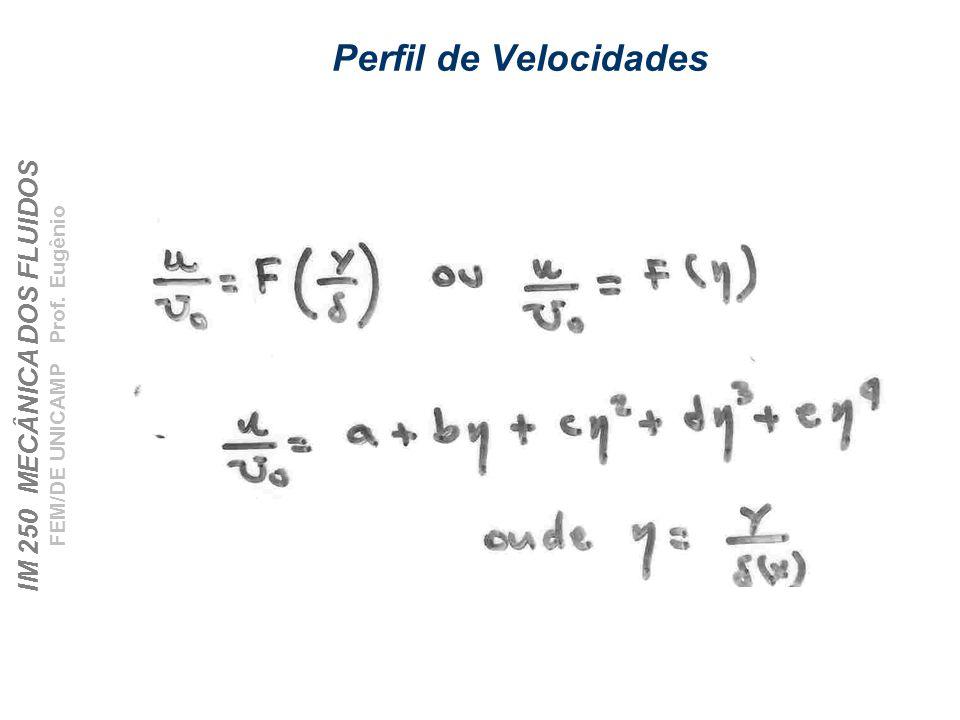 IM 250 MECÂNICA DOS FLUIDOS FEM/DE UNICAMP Prof. Eugênio Perfil de Velocidades