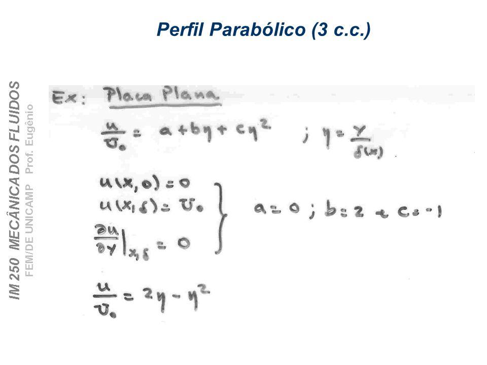 IM 250 MECÂNICA DOS FLUIDOS FEM/DE UNICAMP Prof. Eugênio Perfil Parabólico (3 c.c.)
