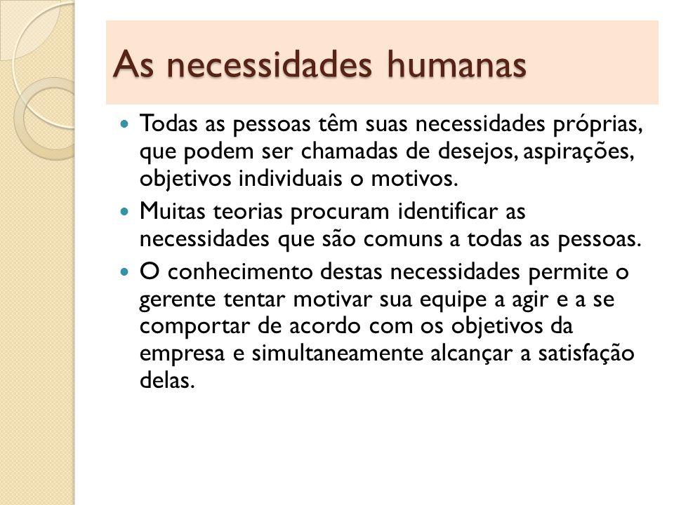Hierarquia das necessidades de Maslow Para Maslow as necessidades humanas estão arranjadas em uma pirâmide de importância e de influenciação do comportamento humano.
