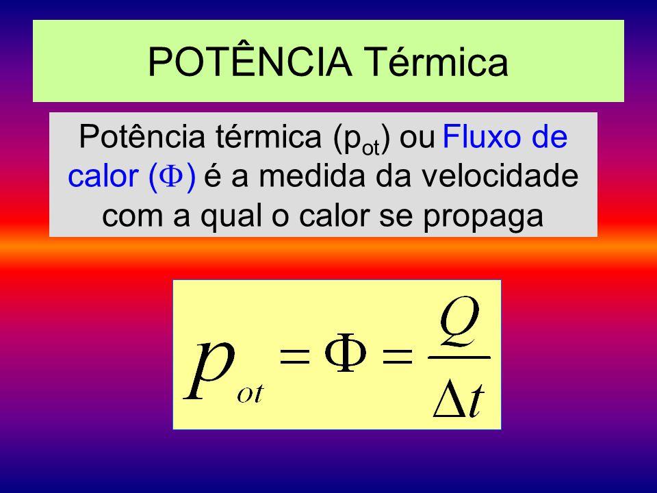 POTÊNCIA Térmica Potência térmica (p ot ) ou Fluxo de calor ( ) é a medida da velocidade com a qual o calor se propaga