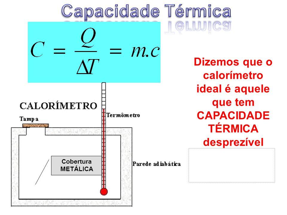 Dizemos que o calorímetro ideal é aquele que tem CAPACIDADE TÉRMICA desprezível (próxima a zero!) Cobertura METÁLICA