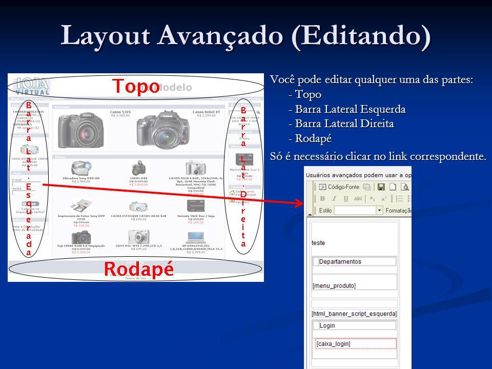 Você pode editar qualquer uma das partes: - Topo - Barra Lateral Esquerda - Barra Lateral Direita - Rodapé Só é necessário clicar no link corresponden