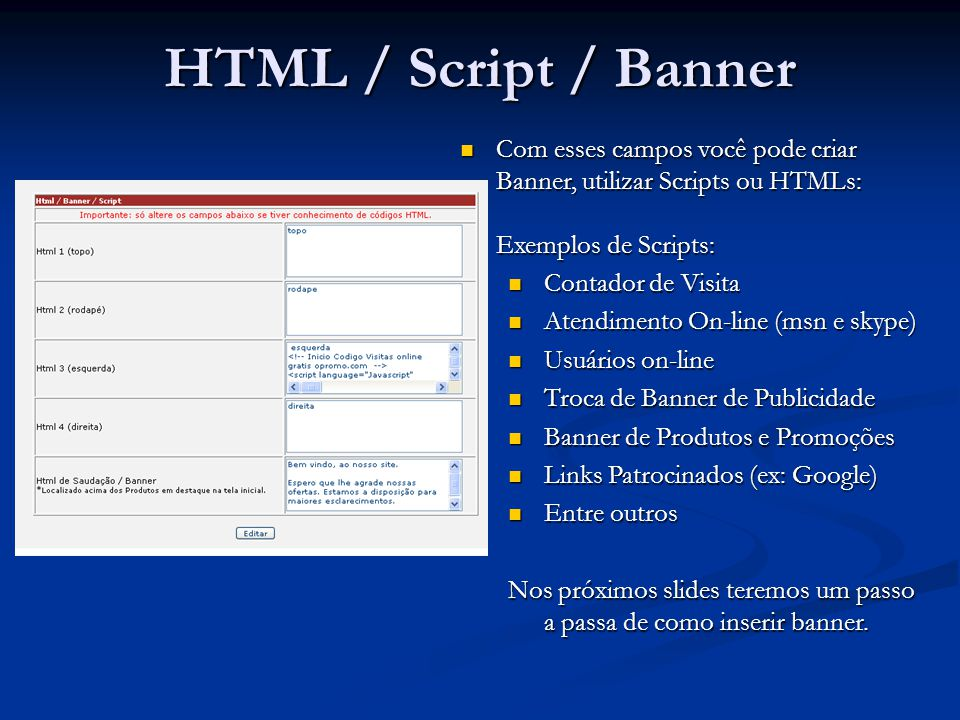 HTML / Script / Banner Com esses campos você pode criar Banner, utilizar Scripts ou HTMLs: Exemplos de Scripts: Com esses campos você pode criar Banne