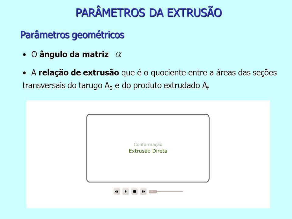 PARÂMETROS DA EXTRUSÃO Parâmetros geométricos O ângulo da matriz O ângulo da matriz A relação de extrusão que é o quociente entre a áreas das seções t