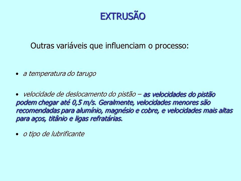 EXTRUSÃO Outras variáveis que influenciam o processo: Outras variáveis que influenciam o processo: a temperatura do tarugo a temperatura do tarugo vel