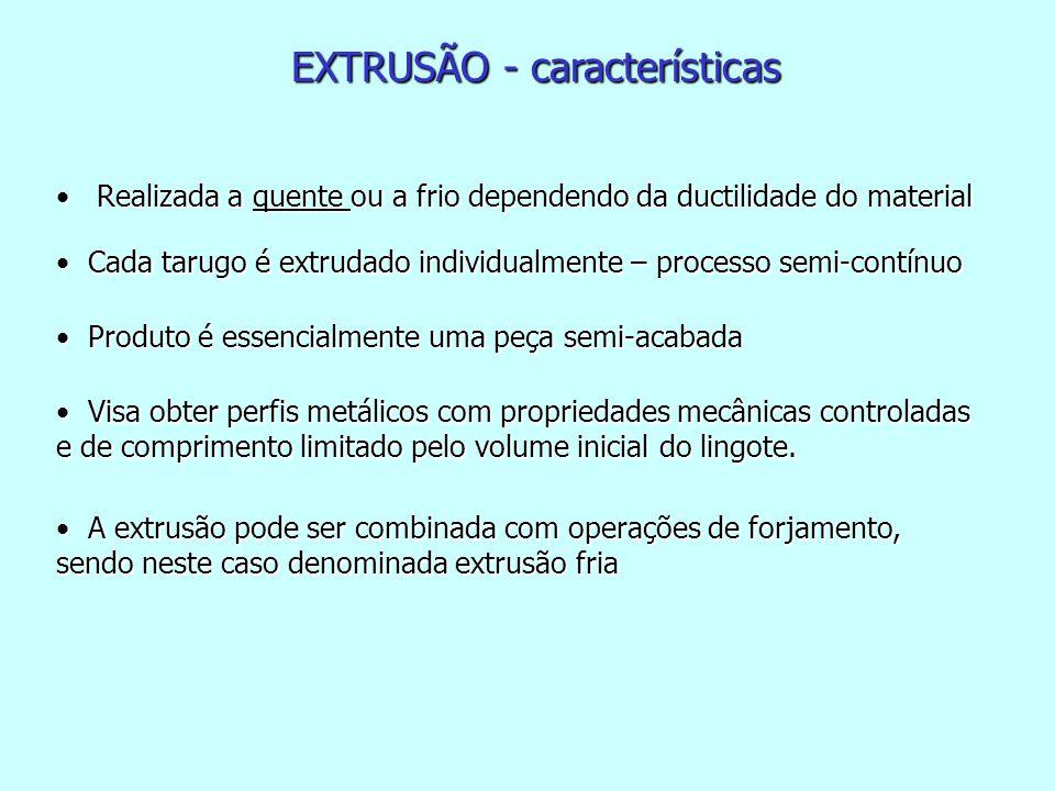 PARÂMETROS DA EXTRUSÃO Parâmetros geométricos O ângulo da matriz O ângulo da matriz A relação de extrusão que é o quociente entre a áreas das seções transversais do tarugo A 0 e do produto extrudado A f A relação de extrusão que é o quociente entre a áreas das seções transversais do tarugo A 0 e do produto extrudado A f