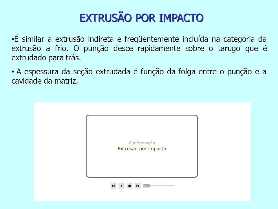 EXTRUSÃO POR IMPACTO É similar a extrusão indireta e freqüentemente incluída na categoria da extrusão a frio.