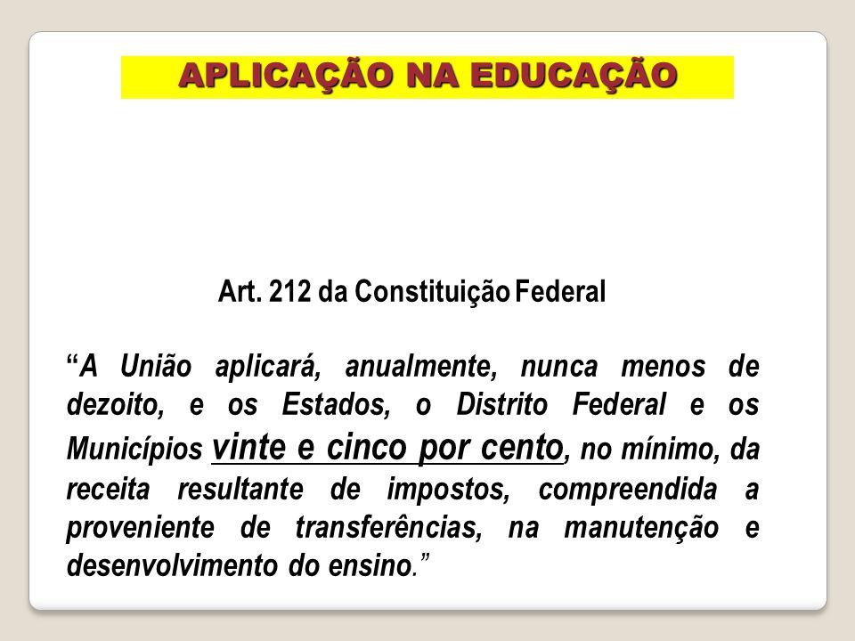 Art. 212 da Constituição Federal A União aplicará, anualmente, nunca menos de dezoito, e os Estados, o Distrito Federal e os Municípios vinte e cinco