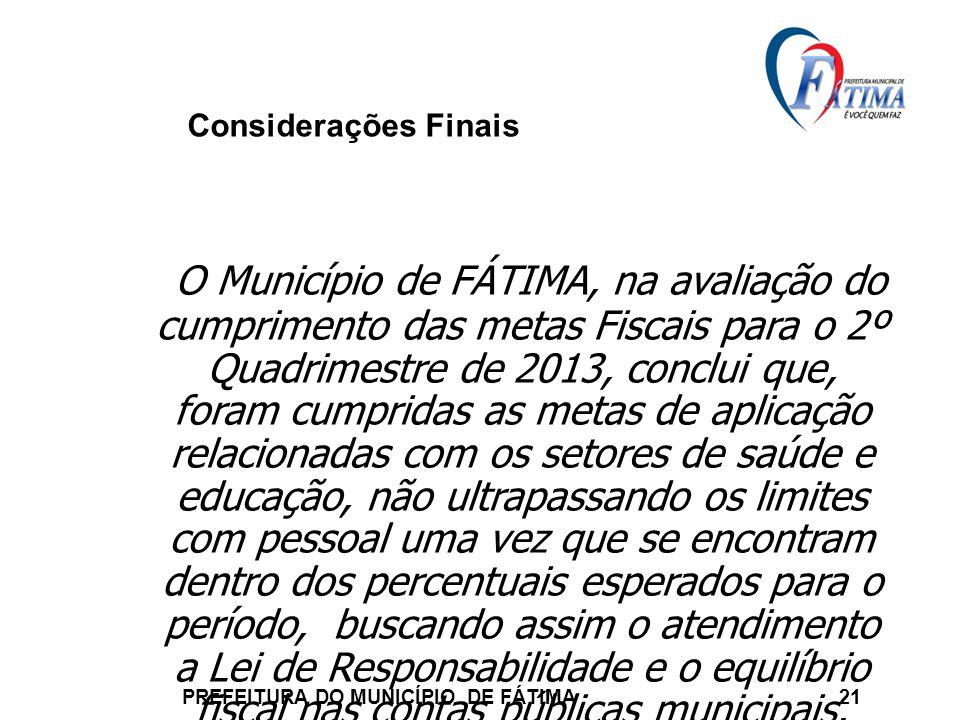 Considerações Finais PREFEITURA DO MUNICÍPIO DE FÁTIMA 21 O Município de FÁTIMA, na avaliação do cumprimento das metas Fiscais para o 2º Quadrimestre