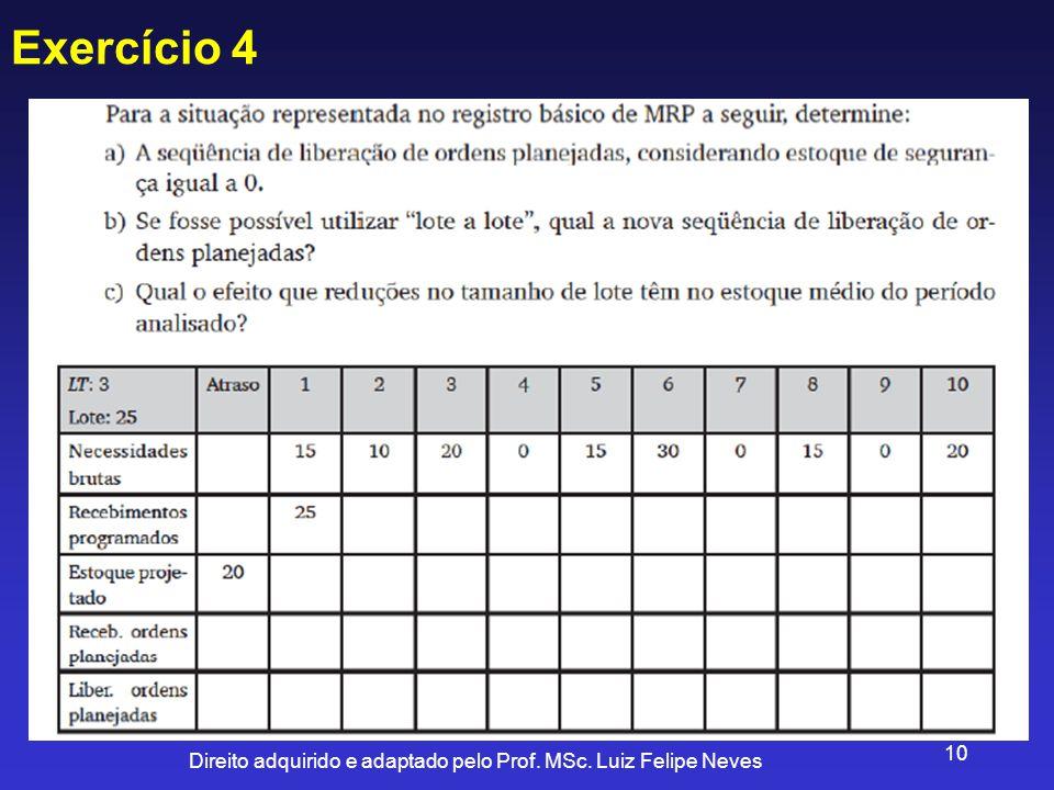 Direito adquirido e adaptado pelo Prof. MSc. Luiz Felipe Neves 10 Exercício 4
