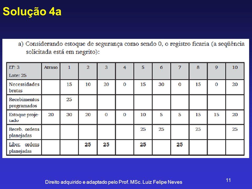 Direito adquirido e adaptado pelo Prof. MSc. Luiz Felipe Neves 11 Solução 4a