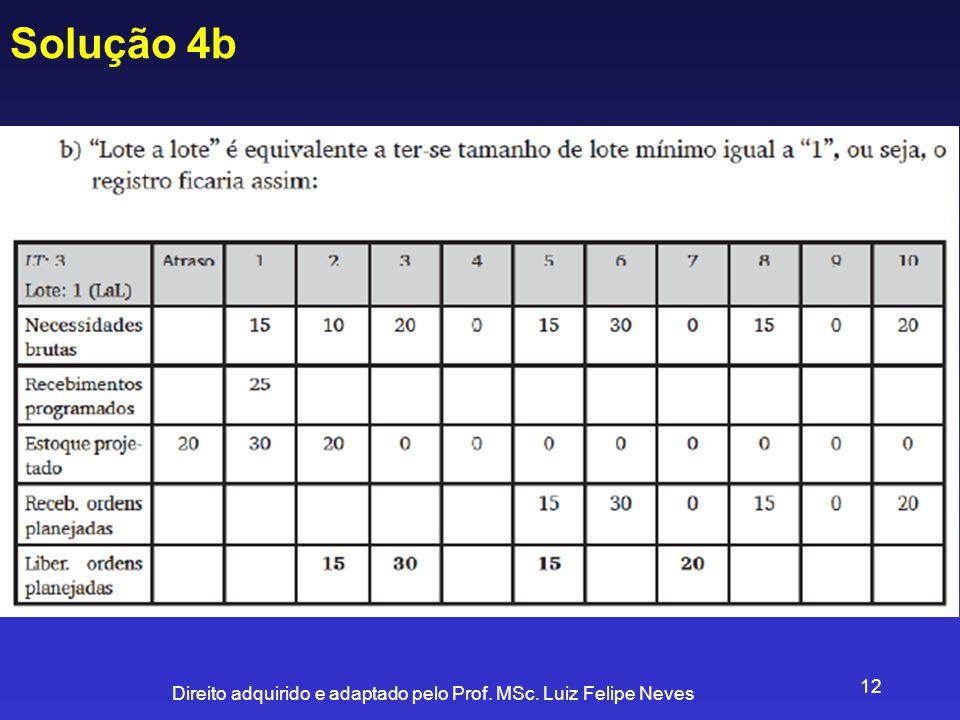 Direito adquirido e adaptado pelo Prof. MSc. Luiz Felipe Neves 12 Solução 4b