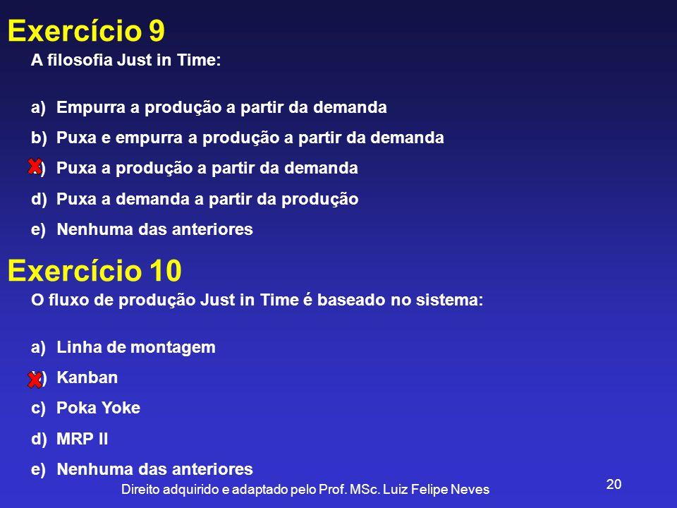 Direito adquirido e adaptado pelo Prof. MSc. Luiz Felipe Neves 20 Exercício 9 A filosofia Just in Time: a)Empurra a produção a partir da demanda b)Pux