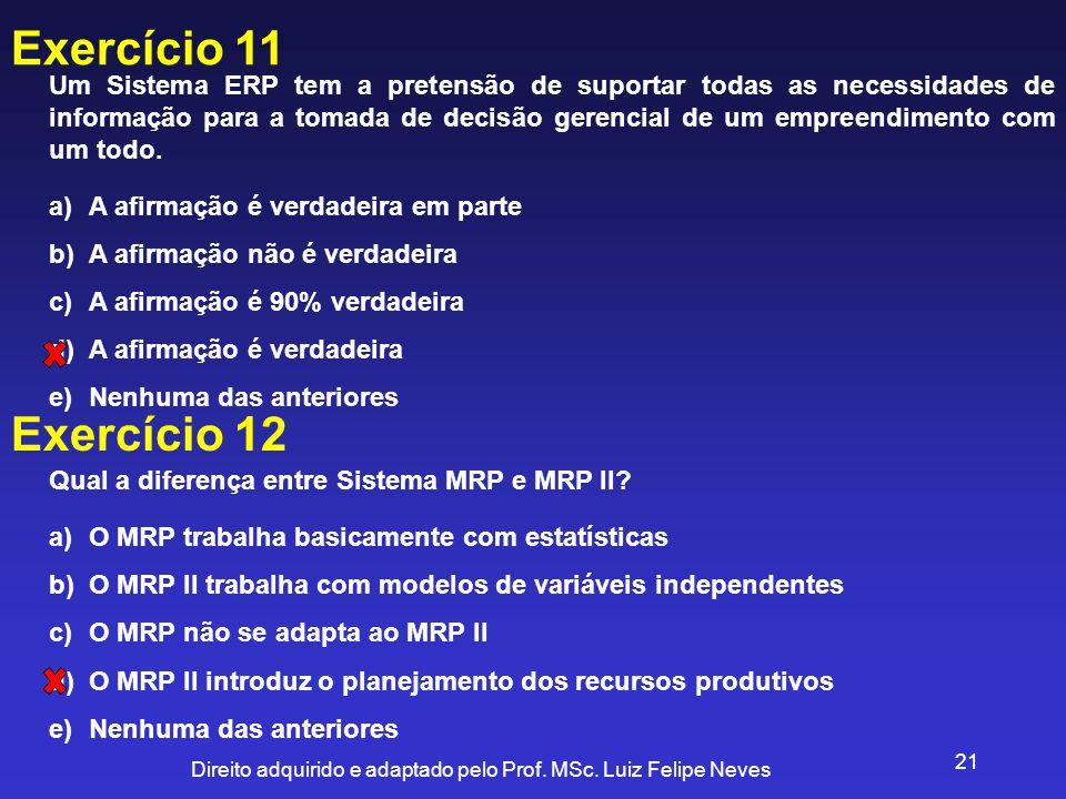 Direito adquirido e adaptado pelo Prof. MSc. Luiz Felipe Neves 21 Exercício 11 Um Sistema ERP tem a pretensão de suportar todas as necessidades de inf