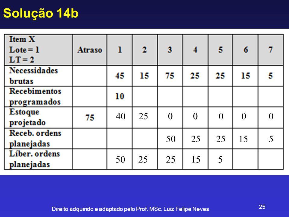 Direito adquirido e adaptado pelo Prof. MSc. Luiz Felipe Neves 25 Solução 14b 4025 50 00000 25 15 5 5