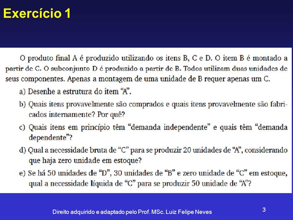 Direito adquirido e adaptado pelo Prof. MSc. Luiz Felipe Neves 3 Exercício 1
