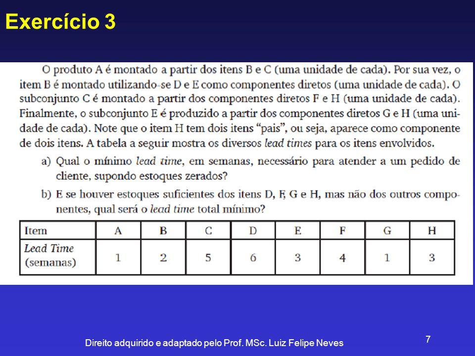 Direito adquirido e adaptado pelo Prof. MSc. Luiz Felipe Neves 7 Exercício 3