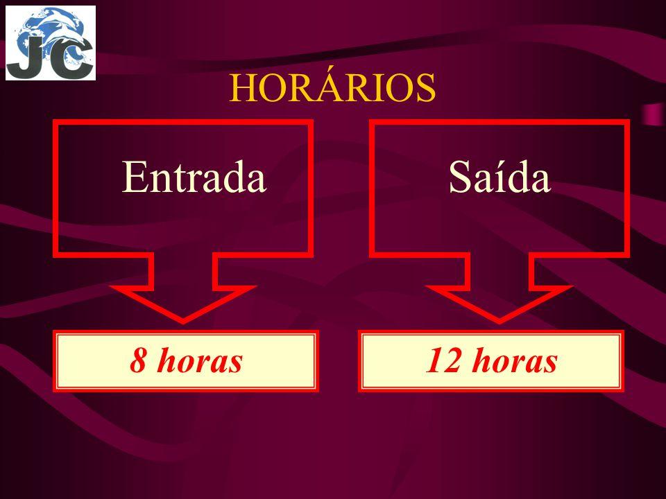 Entrada HORÁRIOS Saída 8 horas12 horas