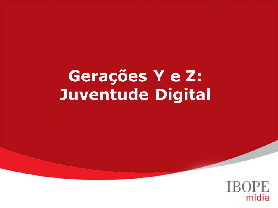 Geração Y (20 a 29 anos) Geração Z (12 a 19 anos) Target Group Index BrY11w1+w2 (Ago09-Jul10) Gerações Y e Z: Juventude Digital