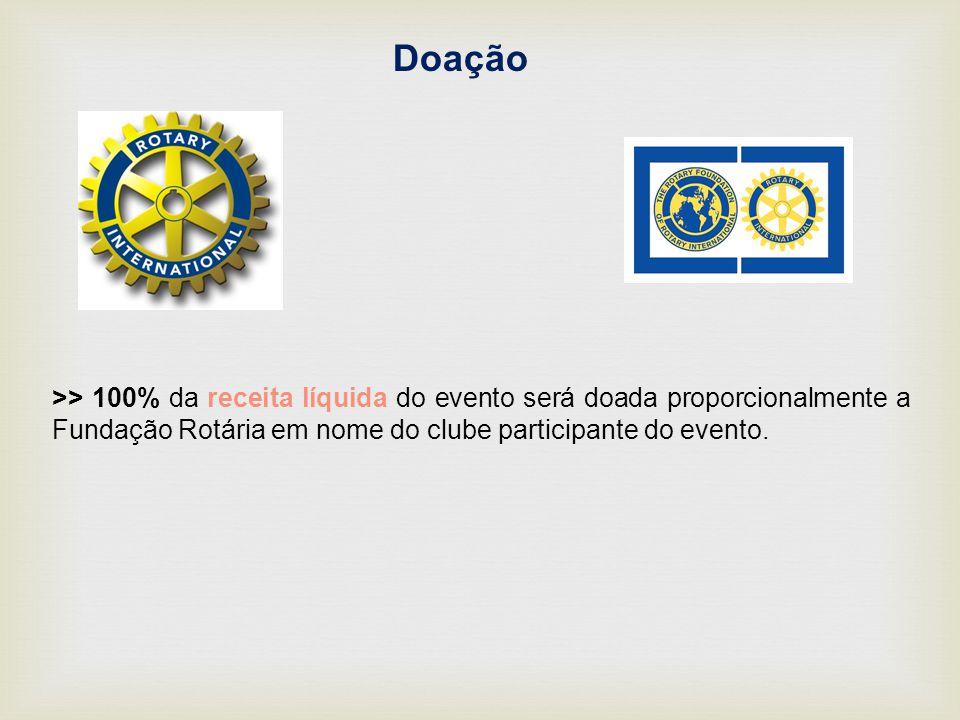 Doação >> 100% da receita líquida do evento será doada proporcionalmente a Fundação Rotária em nome do clube participante do evento.