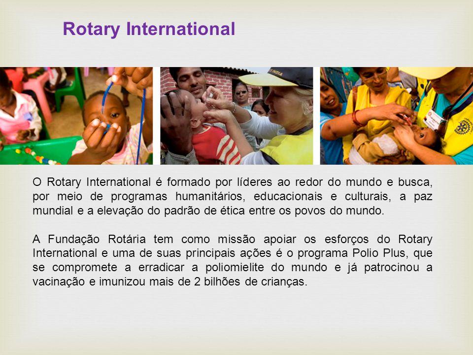 Rotary International O Rotary International é formado por líderes ao redor do mundo e busca, por meio de programas humanitários, educacionais e culturais, a paz mundial e a elevação do padrão de ética entre os povos do mundo.