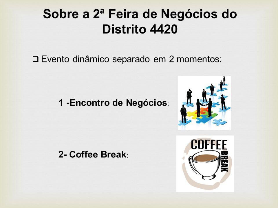 Sobre a 2ª Feira de Negócios do Distrito 4420 Evento dinâmico separado em 2 momentos: 1 -Encontro de Negócios ; 2- Coffee Break ;