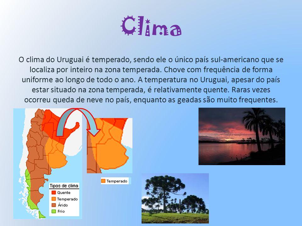 Clima O clima do Uruguai é temperado, sendo ele o único país sul-americano que se localiza por inteiro na zona temperada. Chove com frequência de form