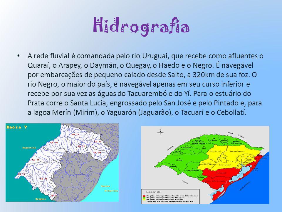 Hidrografia A rede fluvial é comandada pelo rio Uruguai, que recebe como afluentes o Quaraí, o Arapey, o Daymán, o Quegay, o Haedo e o Negro. É navegá