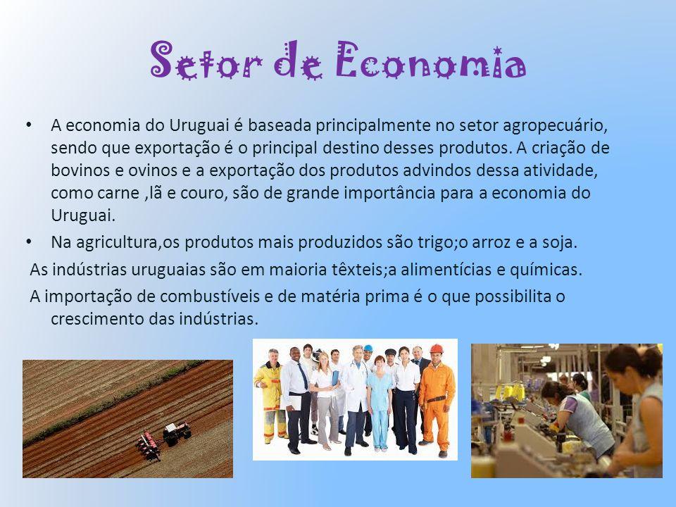 Setor de Economia A economia do Uruguai é baseada principalmente no setor agropecuário, sendo que exportação é o principal destino desses produtos. A