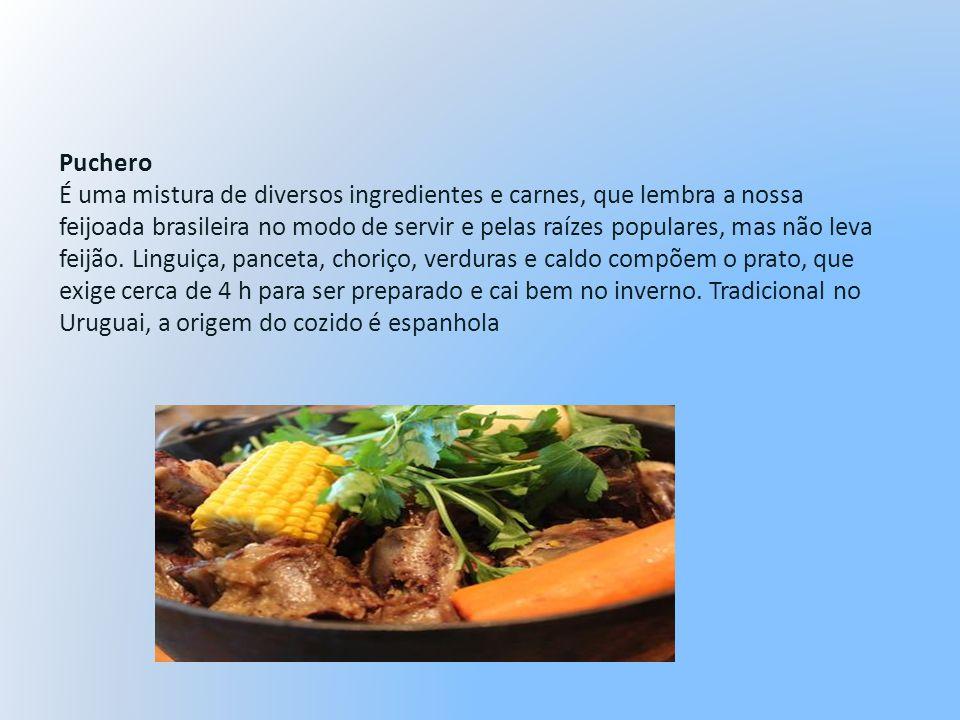 Puchero É uma mistura de diversos ingredientes e carnes, que lembra a nossa feijoada brasileira no modo de servir e pelas raízes populares, mas não le