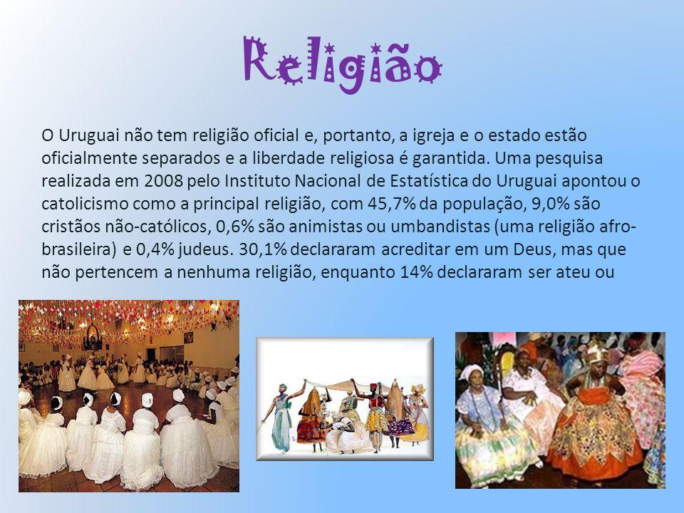 Religião O Uruguai não tem religião oficial e, portanto, a igreja e o estado estão oficialmente separados e a liberdade religiosa é garantida. Uma pes