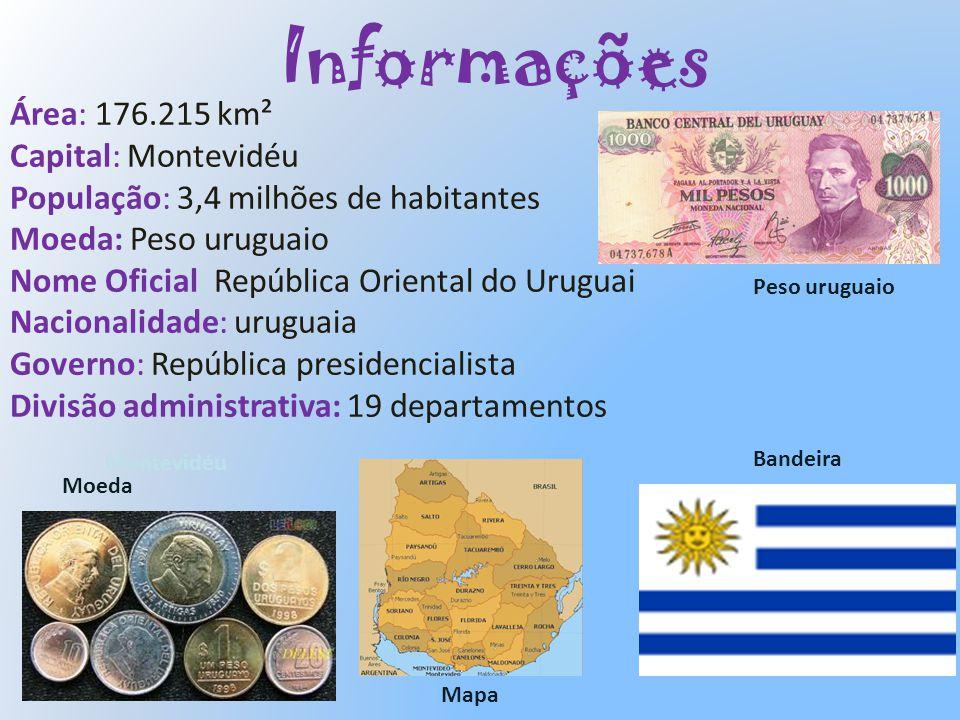 Informações Área: 176.215 km² Capital: Montevidéu População: 3,4 milhões de habitantes Moeda: Peso uruguaio Nome Oficial: República Oriental do Urugua