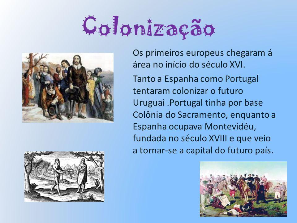 Colonização Os primeiros europeus chegaram á área no início do século XVI. Tanto a Espanha como Portugal tentaram colonizar o futuro Uruguai.Portugal