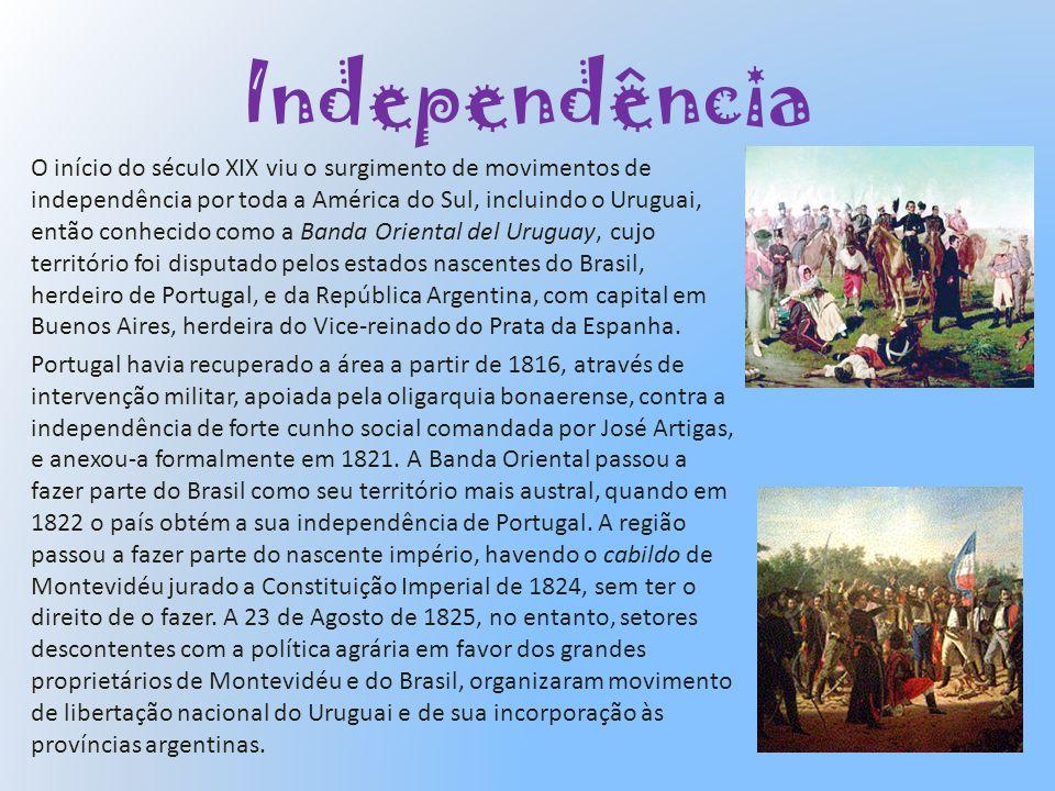 Retorno á democracia O Uruguai experimentou uma série de presidentes eleitos e nomeados e entrou em conflitos com estados vizinhos, flutuações e modernizações políticas e econômias e grandes fluxos de imigrantes, provenientes especialmente da Europa.