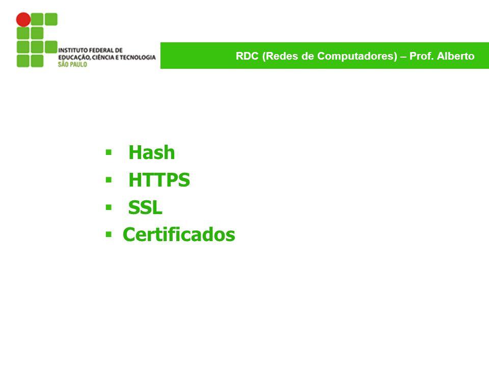 RDC (Redes de Computadores) – Prof. Alberto Hash HTTPS SSL Certificados