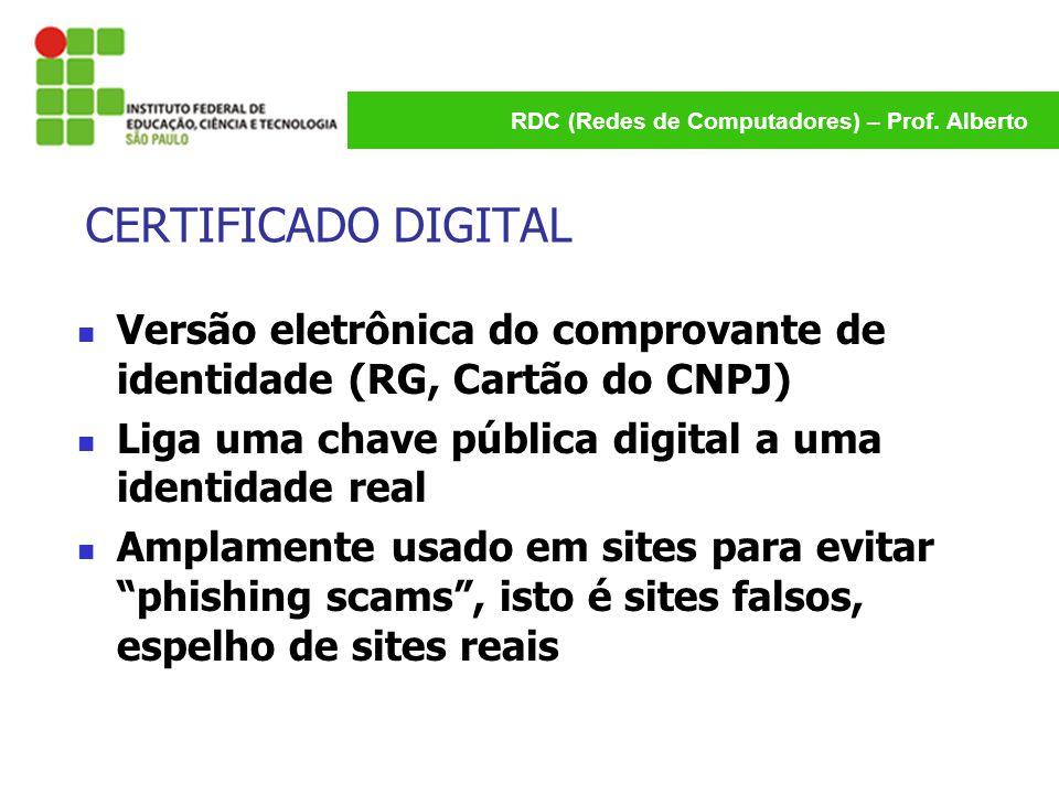 RDC (Redes de Computadores) – Prof. Alberto CERTIFICADO DIGITAL Versão eletrônica do comprovante de identidade (RG, Cartão do CNPJ) Liga uma chave púb