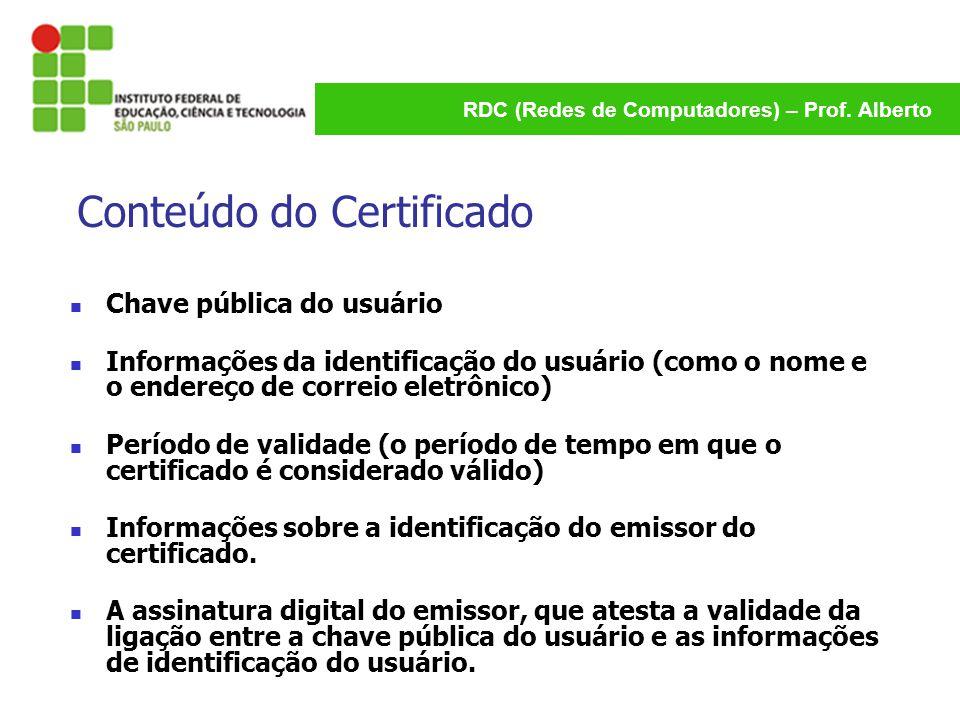 RDC (Redes de Computadores) – Prof. Alberto Conteúdo do Certificado Chave pública do usuário Informações da identificação do usuário (como o nome e o