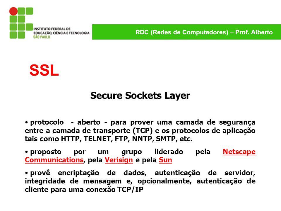 RDC (Redes de Computadores) – Prof. Alberto SSL Secure Sockets Layer protocolo - aberto - para prover uma camada de segurança entre a camada de transp