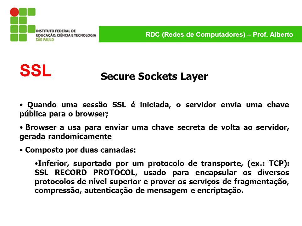 RDC (Redes de Computadores) – Prof. Alberto SSL Secure Sockets Layer Quando uma sessão SSL é iniciada, o servidor envia uma chave pública para o brows