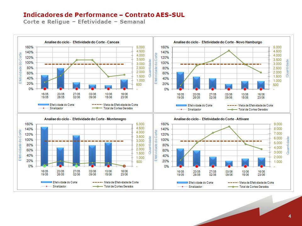 15 Indicadores de Performance – Contrato AES-SUL Corte e Religue – Acidentes – Ciclo