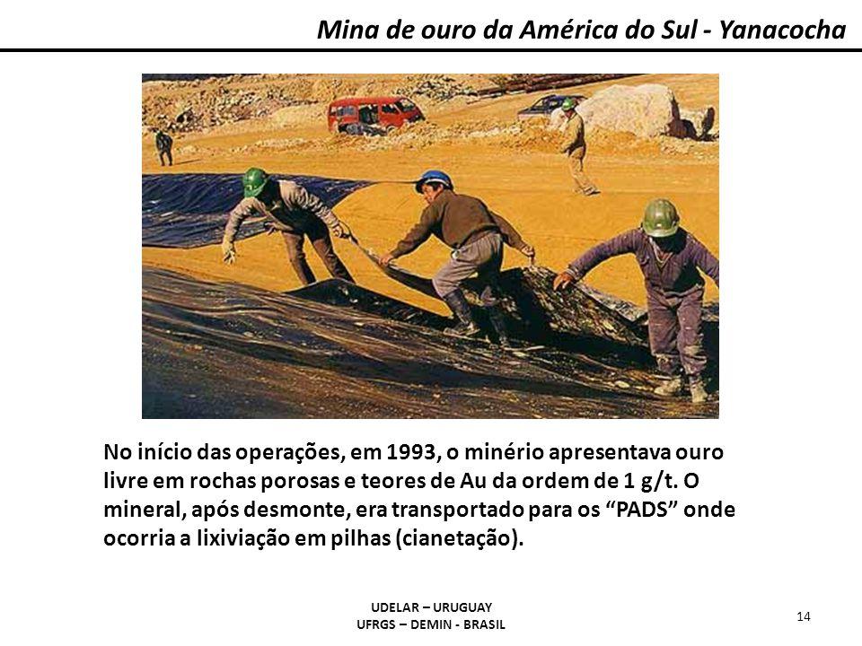 Mina de ouro da América do Sul - Yanacocha UDELAR – URUGUAY UFRGS – DEMIN - BRASIL 14 No início das operações, em 1993, o minério apresentava ouro liv