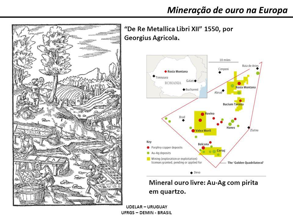 . De Re Metallica Libri XII 1550, por Georgius Agricola. Mineração de ouro na Europa UDELAR – URUGUAY UFRGS – DEMIN - BRASIL Mineral ouro livre: Au-Ag