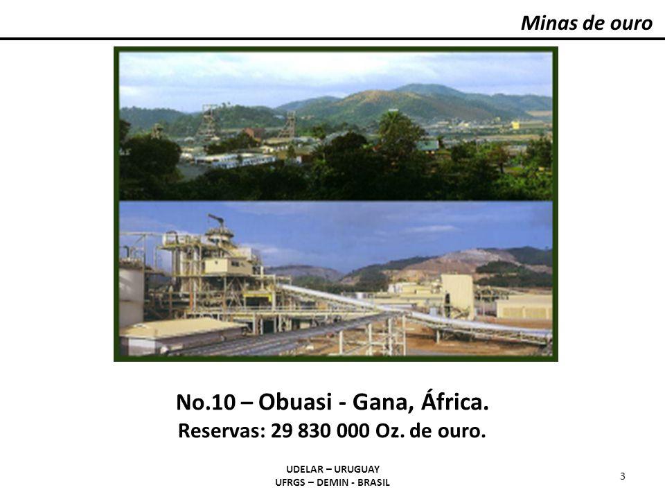 Fluxograma para minérios de ouro livre UDELAR – URUGUAY UFRGS – DEMIN - BRASIL 24 Cominuição/Classificação Cianetação: em tanques com agitação, em bateladas (intensiva), em VAT ou piscina estacionária, em pilhas Cementação com Zn o (clarificação/desaeração) Adsorção/ Dessorção em CA (CIP,CIL,CIC) ROM (2g/t Au) DORÉ (40 a 90 % Au)